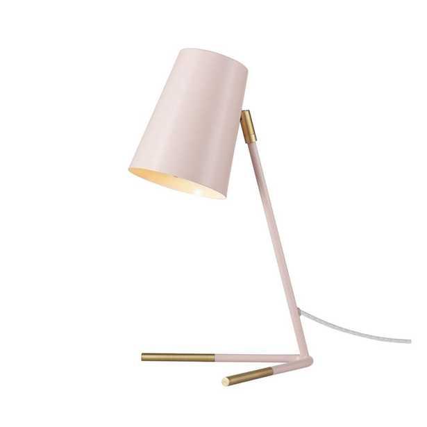 "Novogratz x Globe Electric 16"" Matte Rose Desk Lamp with Matte Gold Legs - Home Depot"
