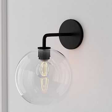 """Sculptural Sconce, Globe Small, Clear, Bronze, 8"""" - West Elm"""