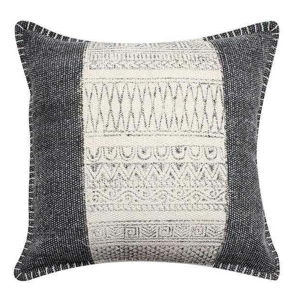 "Benjara White and Gray Block Print Hand Woven Cotton 18"" L x 18"" W Throw Pillow - Home Depot"