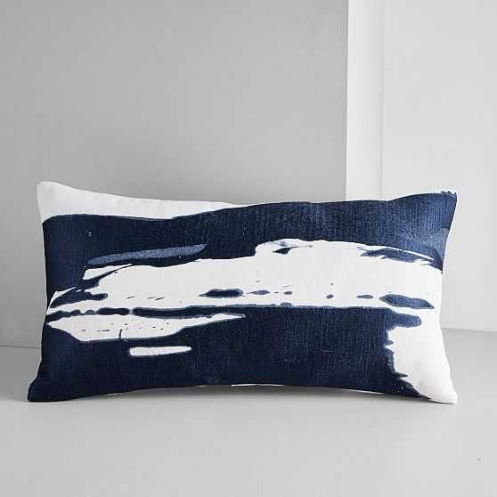 "Ink Splash Pillow Cover, Set of 2, Midnight, 14""x26"" - West Elm"
