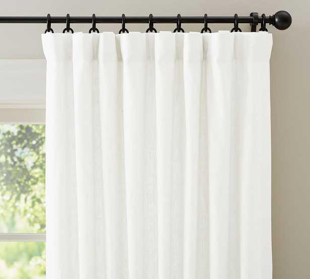 "Emery Linen/Cotton Rod Pocket Blackout Curtain, 50"" x 96"", White - Pottery Barn"