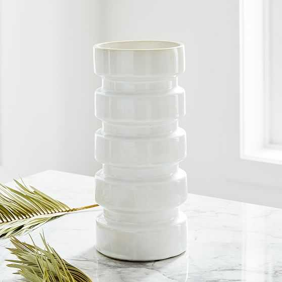 Stepped Form Ceramic Square Stacked, Transculent White - West Elm