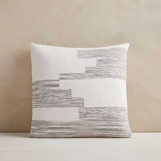 """Cotton Variegated Colorblock Pillow Cover, 18""""x18"""", Frost Gray - West Elm"""