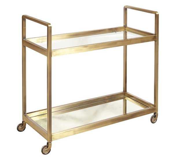 "Kern 33"" Metal Bar Cart, Gold - Pottery Barn"