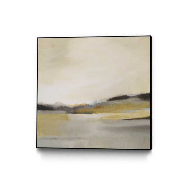 """CLICART 30 in. x 30 in. """"Morning Beach"""" by Alison Jerry Framed Wall Art, Yellow - Home Depot"""