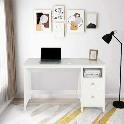 """Writing Desk With Storage Cabinet - 47.2"""" Black Modern Wood Home Office Computer Desk With 2 File Drawers & Open Shelf Study Table For Teens - Wayfair"""