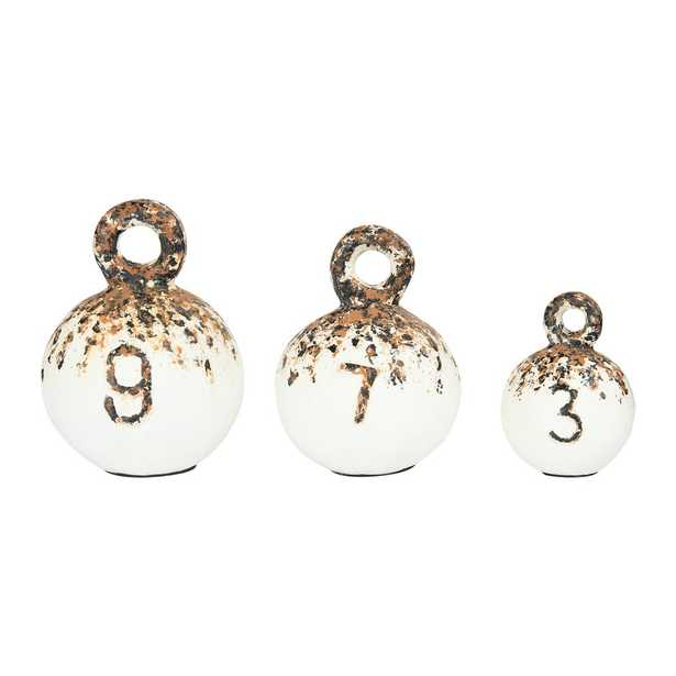 3R Studios Round Resin Weight Figurines (Set of 3 Sizes), Beige - Home Depot