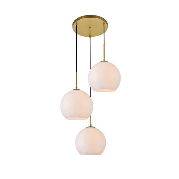 ELEGANT FURNITURE & LIGH Timeless Home Blake 3-Light Brass Pendant with 9.8 in. W x 8.9 in. H Frosted Glass Shade - Home Depot