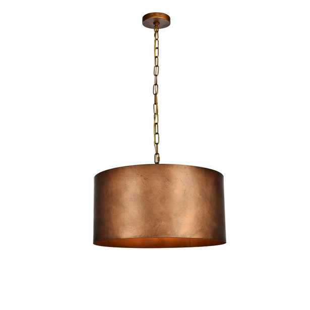 ELEGANT FURNITURE & LIGH Timeless Home Maria 3-Light Pendant in Manual Brass 20 in. W x 11.75 in. H - Home Depot