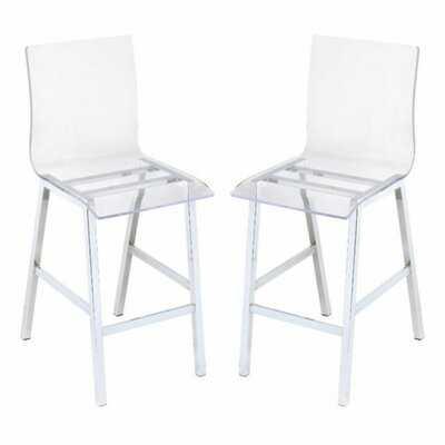 Nadie Counter Height Chair (Set-2) In Clear Acrylic & Chrome - Wayfair