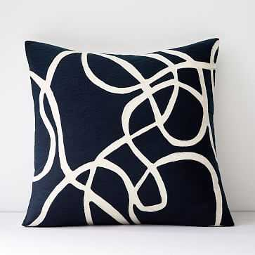 """Crewel Rope Pillow Cover, Midnight, 18""""x18"""" - West Elm"""