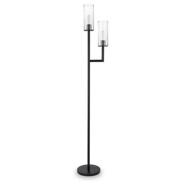 """Hudson&Canal Basso 69.5"""" Blackened Bronze Floor Lamp with Double Torchiere - Home Depot"""
