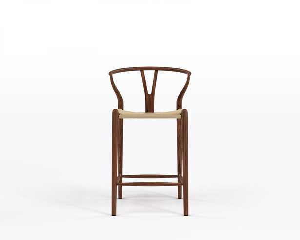Wishbone Counter Stool - Walnut Stain Natural Seat Cord - Rove Concepts