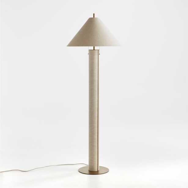 Remi Natural Linen Floor Lamp - Crate and Barrel