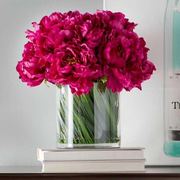 Peonies Floral Arrangement in Vase Flower Color: Magenta - Perigold