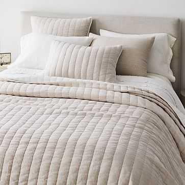 Linen Cotton Pick Stich Quilt, King/Cal. King, White - West Elm
