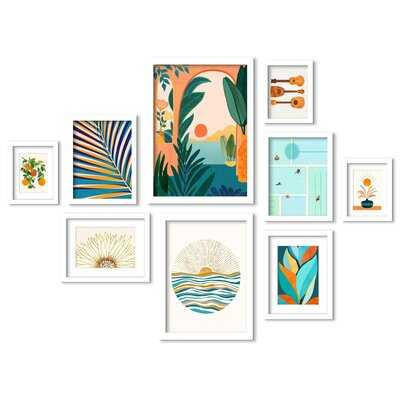 Sunny Boho Bliss - 9 Piece Picture Frame Print Set on Paper - Wayfair