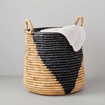 Woven Seagrass Basket, Tall Round, Natural/Black - West Elm