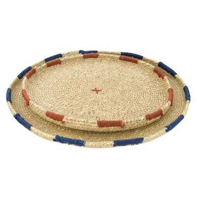 Barry Handwoven Natural Seagrass 2 Piece Coffee Table Tray Set - AllModern