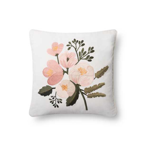 "Floral Peony Throw Pillow, 18"" x 18"", Blush - Rifle Paper Co. x Loloi"