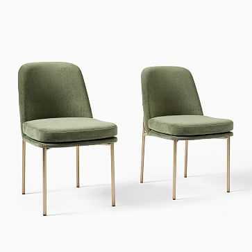 Jack Metal Frame Dining Chairs, Set of 2, Distressed Velvet, Green Spruce, Light Bronze - West Elm