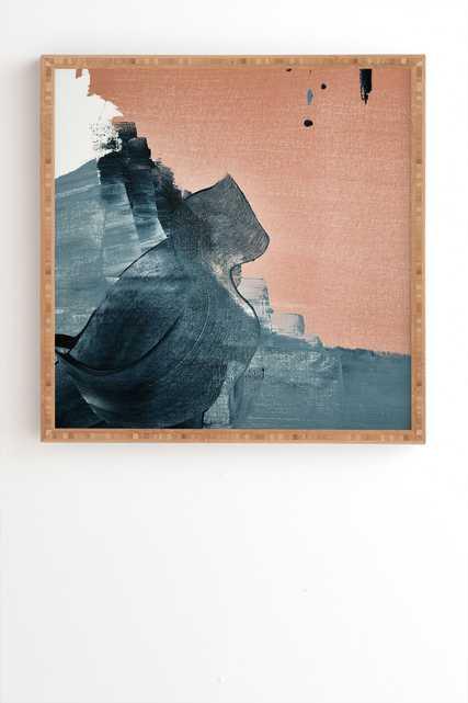 "Renew A Minimal Abstract Piece by Alyssa Hamilton Art - Framed Wall Art Bamboo 30"" x 30"" - Wander Print Co."