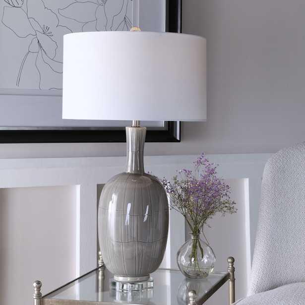 LeAnna Gray Crackle Table Lamp - Hudsonhill Foundry