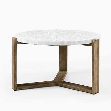 Mosaic Coffee Table Neutral Penny Marble + Driftwood Coffee - West Elm