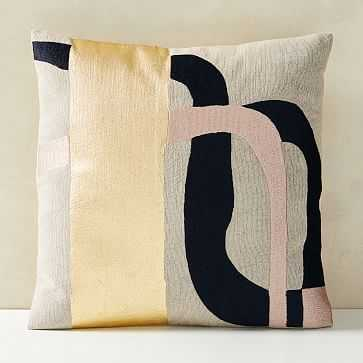 """Embroidered Metallic Curves Pillow Cover, 20""""x20"""", Midnight - West Elm"""
