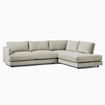 Haven Sectional Set 01: LA Sofa + RA Terminal Chaise, Poly, Distressed Velvet, Dune, Concealed Supports - West Elm