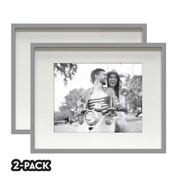 NONE Classic Gallery Double Pack Gray Frame 16 in. x 20 in. Mat to 11 in. x 14 in. - Home Depot