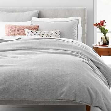Organic Flannel Herringbone Duvet, Medium Gray, Full/Queen - West Elm