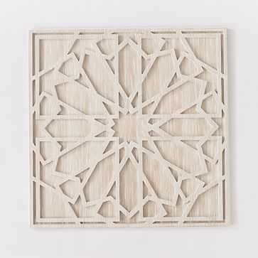 Graphic Wood Wall Art, Whitewashed, Square, Individual - West Elm