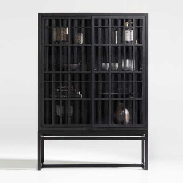 Highland Black Cabinet with Sliding Doors - Crate and Barrel