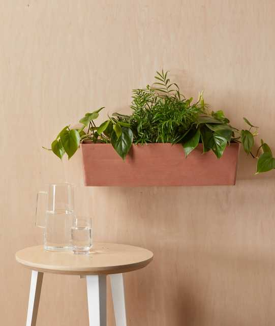 """Ecopots Rectangular Wall Hanging Pot - Large (22"""" x 7"""") -  Clay - Bloomscape"""