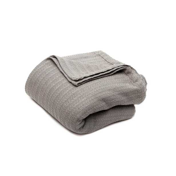 Layla Cotton King Throw Blanket In Grey - Home Depot