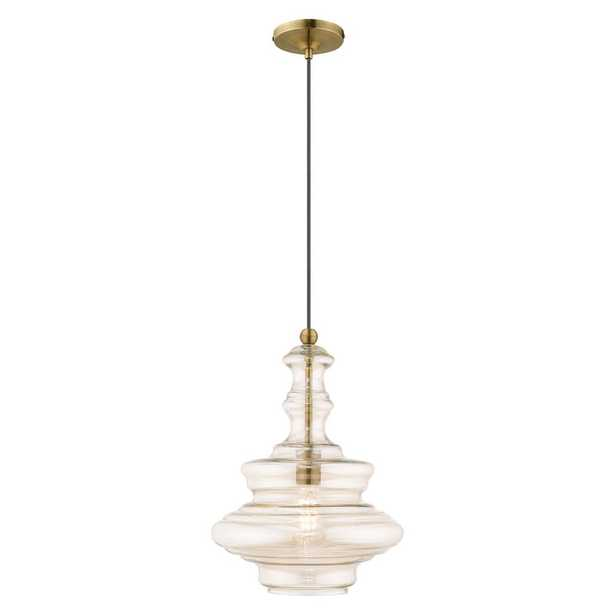 Livex Lighting 1-Light Antique Brass Mini Pendant with Champagne Glass Shade - Home Depot