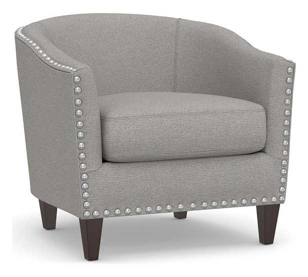 Harlow Upholstered Armchair with Polished Nickel Nailheads, Polyester Wrapped Cushions, Performance Heathered Basketweave Platinum - Pottery Barn