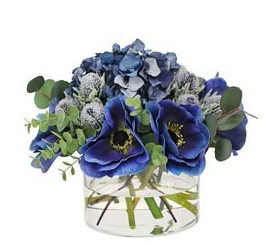 """Faux Anemone & Thistle Mixed Blue Composed Arrangement, Glass Round Vase - 8"""" - Pottery Barn"""