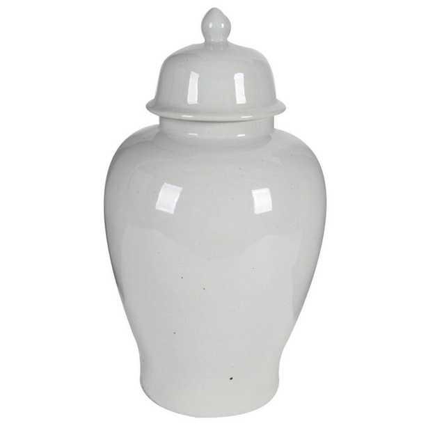 Benjara Off White Ceramic Ginger Jar with Lid - Home Depot