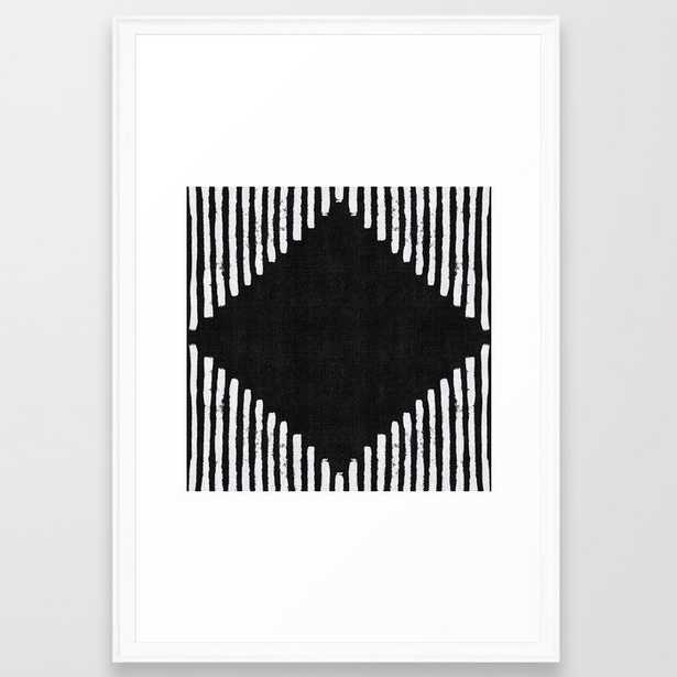 Diamond Stripe Geometric Block Print In Black And White Framed Art Print by Becky Bailey - Scoop White - LARGE (Gallery)-26x38 - Society6