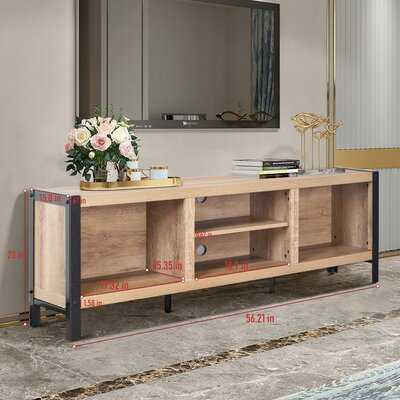56 Inch Tv Stand Media Console Table With Storage Shelves, Mid-century Modern Entertainment Centre For Flat Screen Tv, Gaming Consoles In Living Room, Entertainment Room, Office, Oak Finish - Wayfair