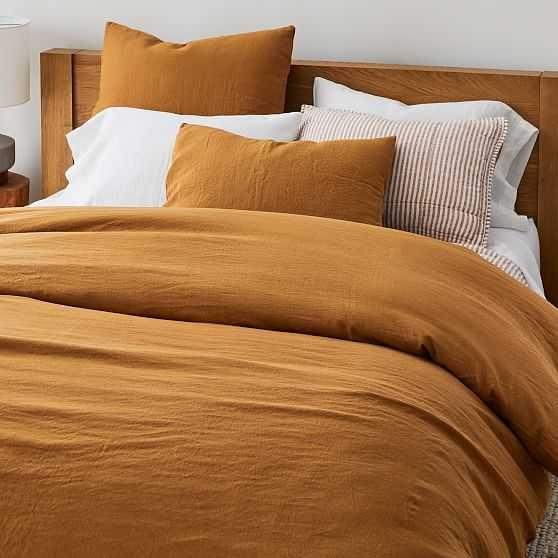 European Flax Linen Duvet, Full/Queen Set, Golden Oak - West Elm