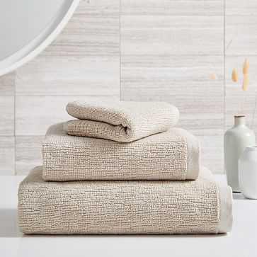Organic Textured Towel, Set of 3 Pack, Oatmeal - West Elm