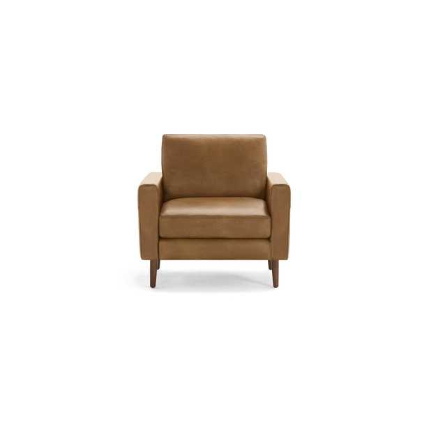 The Block Nomad Leather Armchair in Camel, Walnut Legs - Burrow