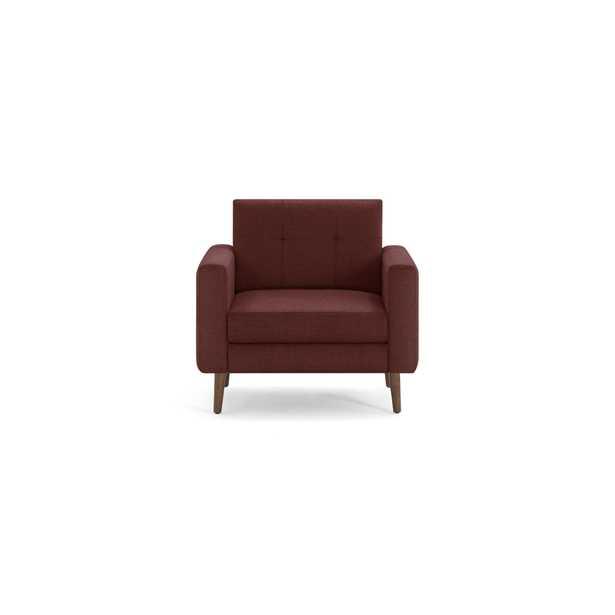 The Block Nomad Armchair in Brick Red, Walnut Legs - Burrow