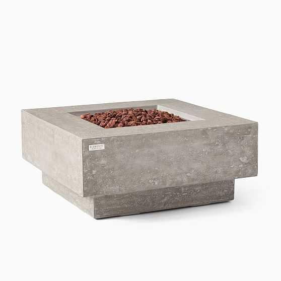 Square Pedestal Fire Pit Table, Gray - West Elm