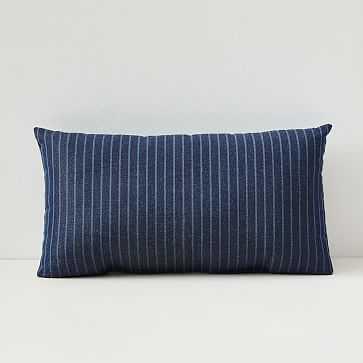 "Sunbrella Indoor/Outdoor Striped Lumbar Pillow, Indigo, 12""x21"" - West Elm"