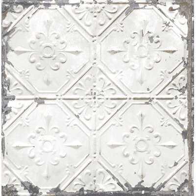 "Truro Tin Ceiling Distressed 33' x 20.5"" Geometric Tile Wallpaper - Birch Lane"