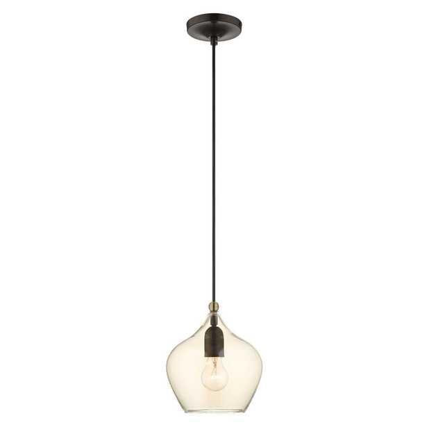 Livex Lighting Pendants 1-Light English Bronze Glass Pendant with Glass Shade - Home Depot